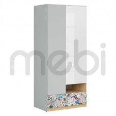 Шкаф Nandu Black Red White 90х200.5x55 (S441-SZF2D1S) 065440